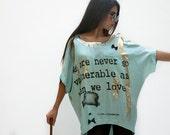 Women light blue shirt , golden print , short sleeve , bat sleeve , Charlie Chaplin shirt - sevenseventyfashion