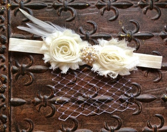 Ivory Flower Girl Headband, Ivory Pearl Flower Girl Hair Accessory, Ivory Flower Girl Head Piece, Flower Girl Halo, Ivory Photo Prop