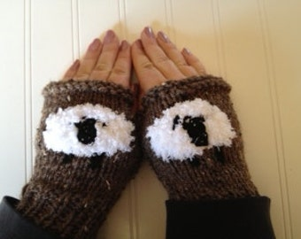 I Love Sheep Fingerless Gloves - Barley Brown Mitts with White Sheep