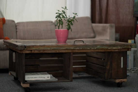 Items similar to rustic coffee table made from reclaimed for Milk crate coffee table