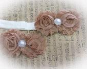 tan shabby flower head band