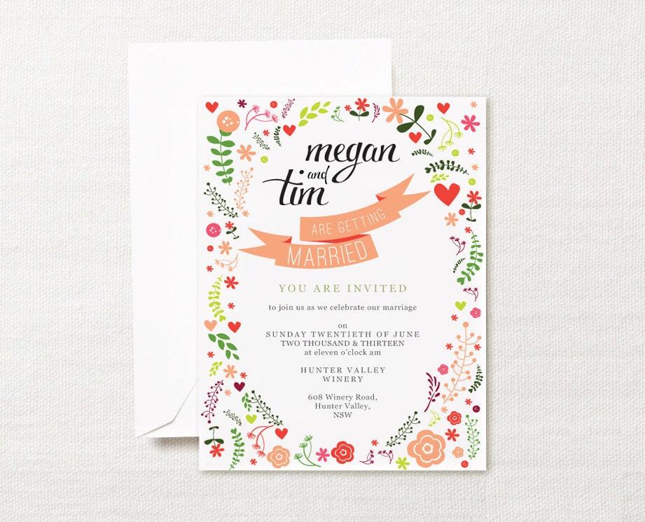 Whimsical Printable Wedding Invitation Calligraphy By ZestAndLime