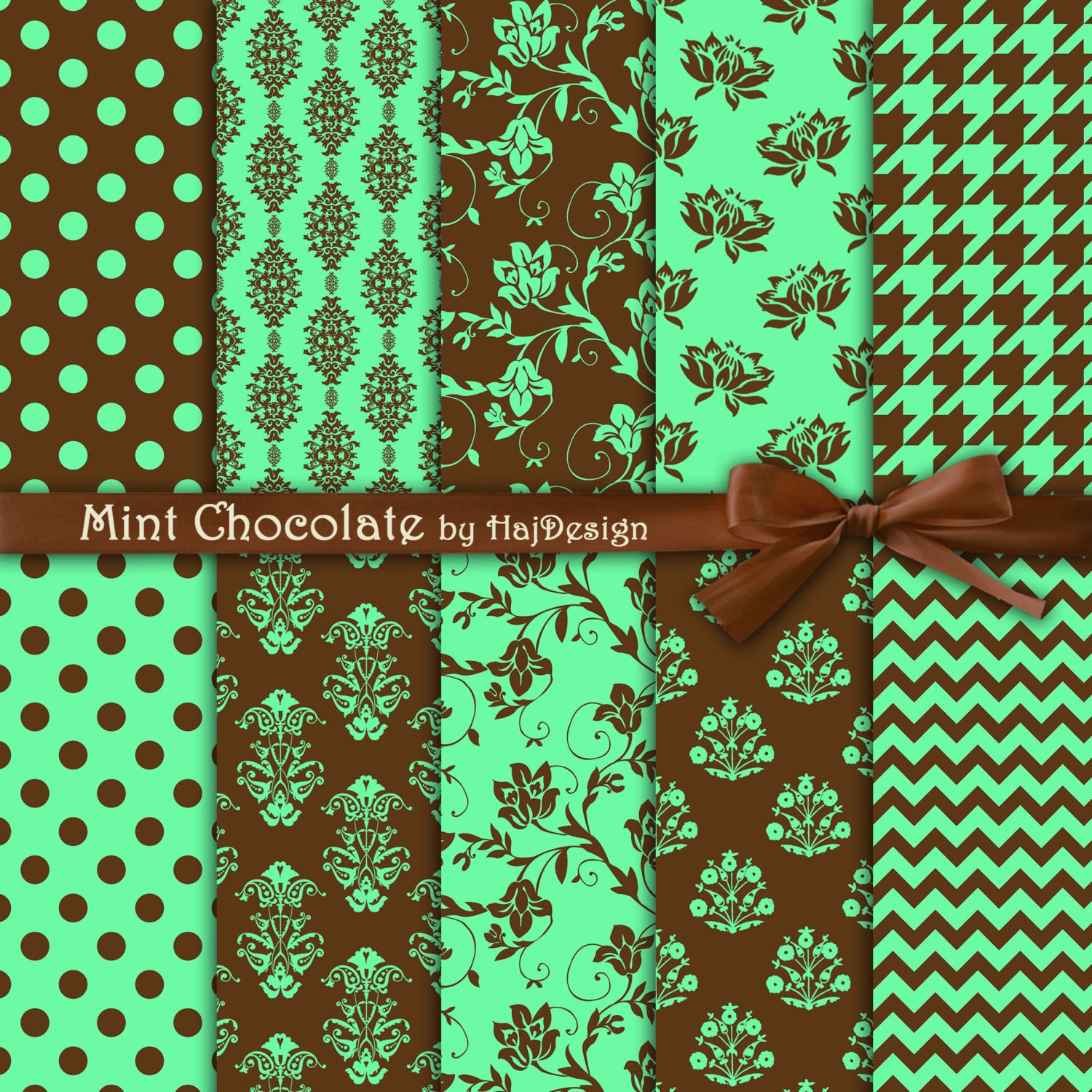 green and brown digital paper mint chocolate. Black Bedroom Furniture Sets. Home Design Ideas