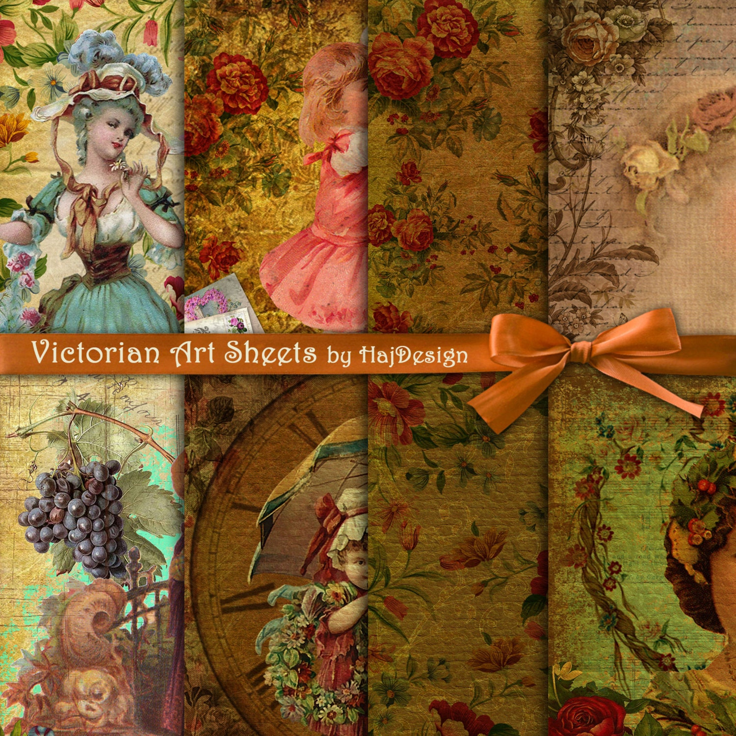 VICTORIAN ART SHEETS - Instant Download, Digital Paper, Scrapbook ...
