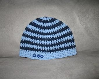 Crochet Boys Button Tab Hat, Beanie, Skullcap, Ready to Ship