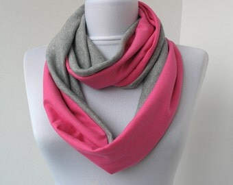 CLEARANCE SALE - Pink Gray Cotton Jersey Scarf - Infinity Scarf - Loop Scarf - Circle Scarf - Scarf Necklace - 343