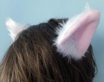 White Furry Cosplay Cat Neko Ears on Hair Clips Kawaii Halloween Fursuit Pet Petplay Cute Kitty Kitten