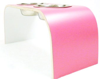Medium Pink & White Designer Raised Pet Bowl Holder