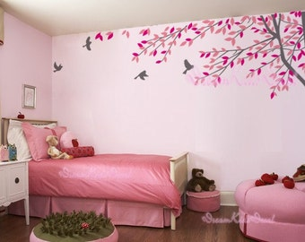 wall decal branch with flying birds vinyl baby wall decal nursery tree decal branch decal wedding wall decal-DK012