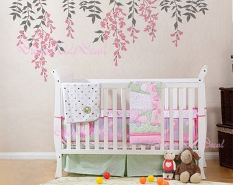Hanging Vines Wall Decal For Baby Girl Nursery With Flowers - Wall decals in nursery