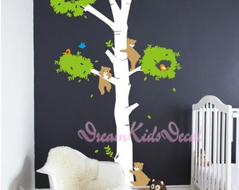 Tree wall decal baby kids Nature Tree Wall Mural Nursery wall decal Children- nature decal bare flying birds-DK086