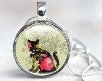 Cat Necklace - Black Cat Necklace - Glass Cat Necklace