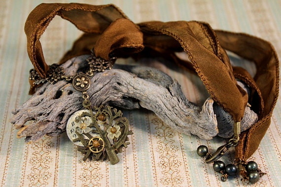 Full Moon Blooms - brass, tourmaline, and pearl steampunk necklace
