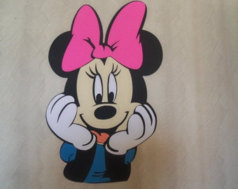 "11"" Minnie Mouse Head Birthday Party Decoration Die Cut"