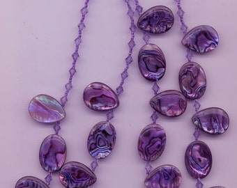 Fabulous two-stranded necklace - shimmering luminous purple abalone beads
