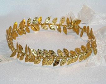 Grecian Headband Gold Leaf Wedding Crown Halo Headpiece Bridal Headband Wedding Crown