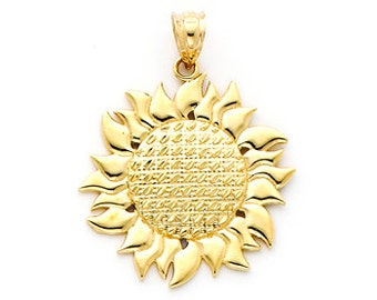 14K gold Sunflower Charm