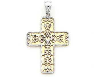 14K gold two-tone Filigree cross with Mirrored back.