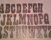 6 inch Letters Alphabet PER LETTER Rusty Vintage Western Style Metal Steel Wall Art Ornament Magnet Stencil
