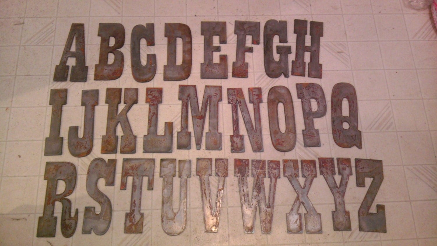 6 Inch Metal Letters 6 Inch Letters Alphabet Per Letter Rusty Vintage Western Style
