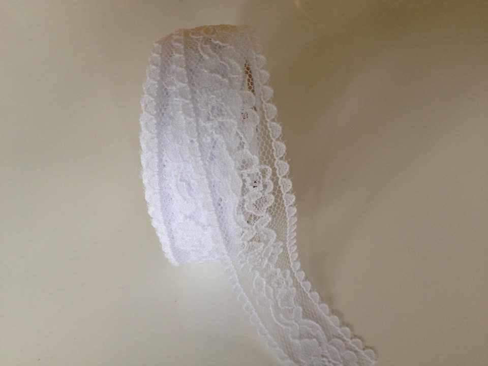 sheer white lace ribbon 7 8 inch x 9 feet white lace. Black Bedroom Furniture Sets. Home Design Ideas
