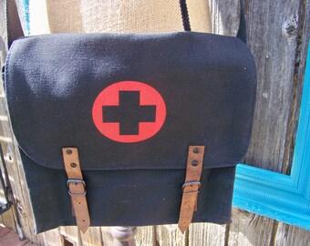 Black Vintage Military Canvas Medic Messenger Bag, Cross Body, Unisex Bag, Shoulder Bag, Military Bag, Tech Bag, Medic Bag, Red Cross Bag