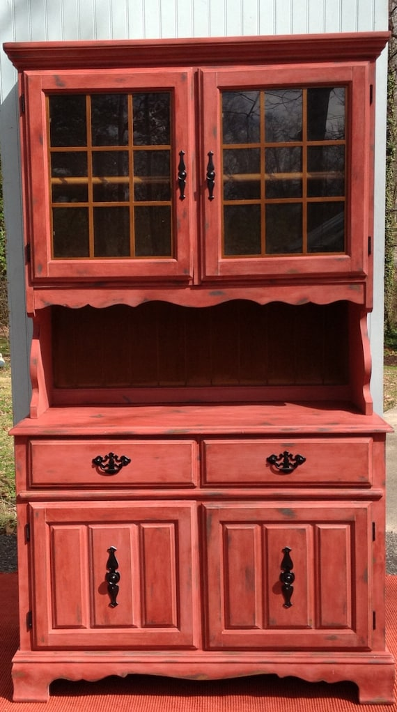 Barn Red China Cabinet Hutch Shabby Countrycharm By