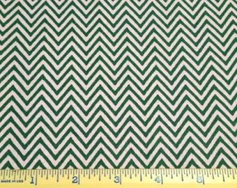 SALE Kelly green Fabric Finders chevron 100% cotton fabric