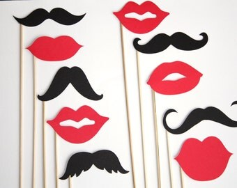 30 Assorted Black mustaches and lips, photo booth props, wedding props, gender reveal party
