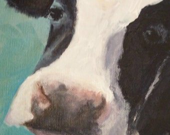 Maude- Holstein Cow Digital Reproduction Print of Original Artwork by Jonnie J. Baldwin