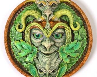 Green Man Plaque 'Faunus' Summer