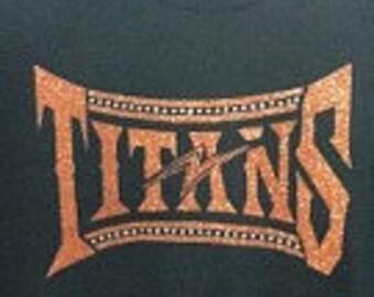 Custom Titans glitter and rhinestone fitted t-shirt
