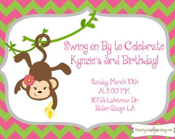 Monkey love party invitations - photo#10