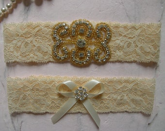 Garter / Blush / Lace Garter / Wedding Garters / Bridal Garter / Toss Garter /Lace Garter / Vintage Champagne-Nude Color Lace, Gold Accent
