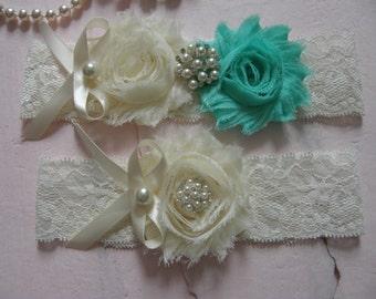 Garter / Wedding Garters / Vintage Inspired Lace Garter /  Ivory / Aqua Sky/ Bridal Garter Set / Bridal Garter / Toss Garter