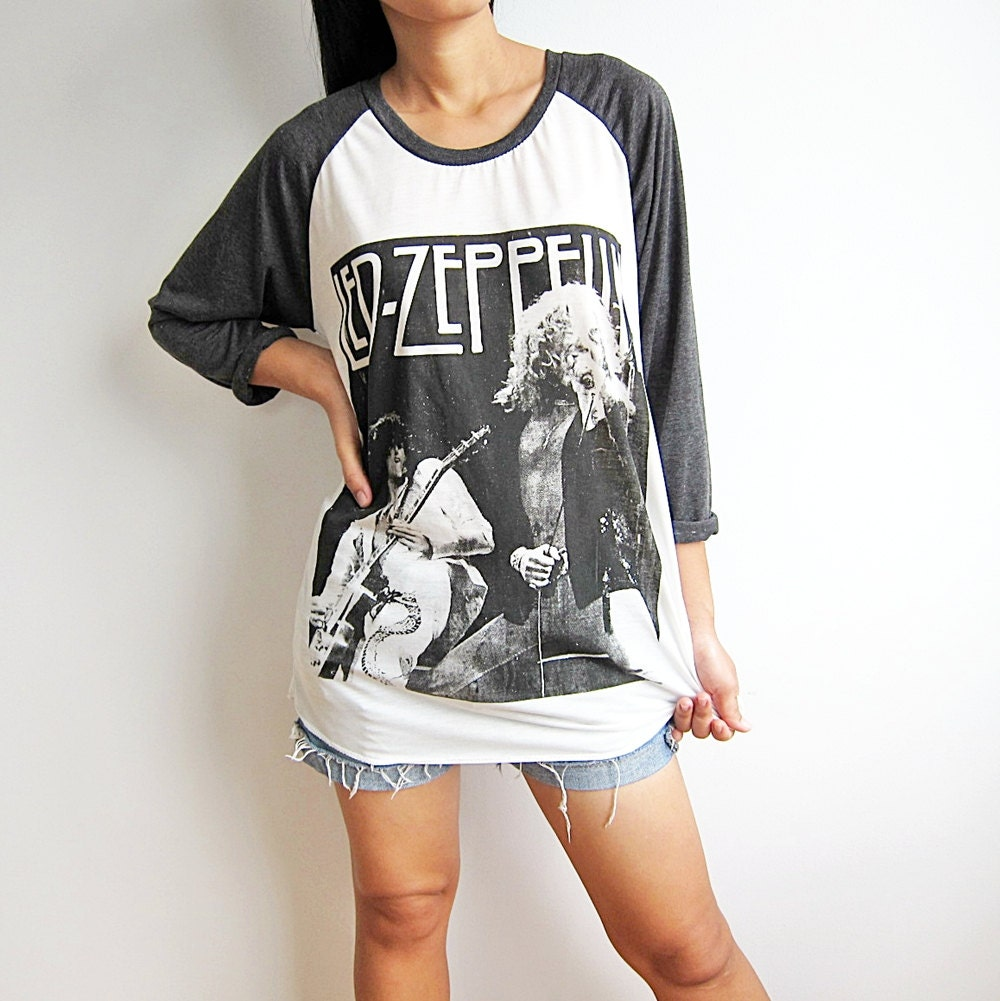 led zeppelin shirt baseball tee shirt raglan by punkrocktshirt. Black Bedroom Furniture Sets. Home Design Ideas
