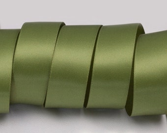 """Willow Green Ribbon, Double Faced Satin Ribbon, Widths Available: 1 1/2"""", 1"""", 6/8"""", 5/8"""", 3/8"""", 1/4"""", 1/8"""""""