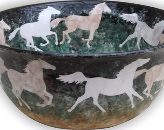 Decorative  ceramic bowls with running horse design