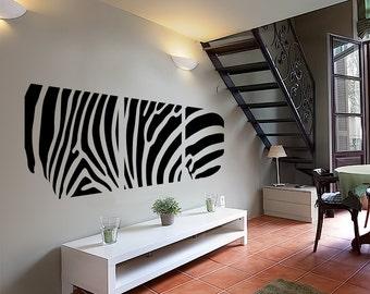 Zebra Wall Decal Cute Vinyl Sticker Home Arts Animal Wall Decals Decor Africa Pattern WT061
