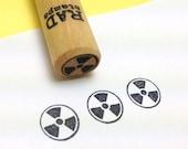 Nuclear Radiation Hazard Symbol mini Rubber Stamp Radioactivity - Radioactive