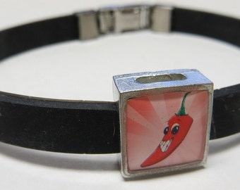 Happy Cartoon Chili Pepper Link With Choice Of Colored Band Charm Bracelet