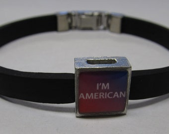 Patriotic I'm American Link With Choice Of Colored Band Charm Bracelet