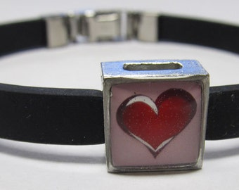 Love Red Puffed Heart Link With Choice Of Colored Band Charm Bracelet
