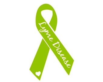 "Lyme Disease Awareness Ribbon Decal with ""Lyme Disease"" in Script and a Heart"