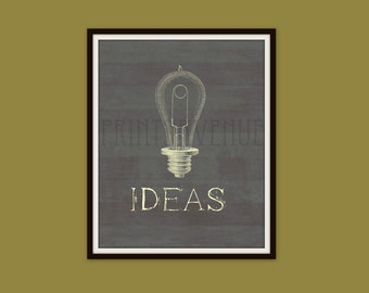 Edison LIGHT BULB Wall Art, IDEAS Office Decor, Light Bulb Art Print, Creative Art