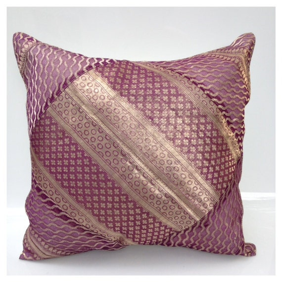 Decorative pillow case purple metallic embroidery