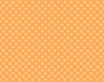 Riley Blake Dots Small Orange Background Fabric- 1/2 yard