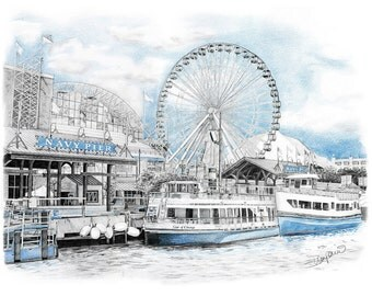 Chicago Navy Pier Pencil Drawing - 11x14""