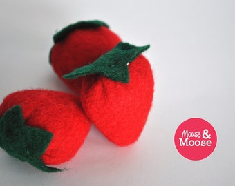 Eco Friendly 100% Wool play Strawberries, felt food, play kitchen, play food, wool felt play food, felt strawberries, pretend play