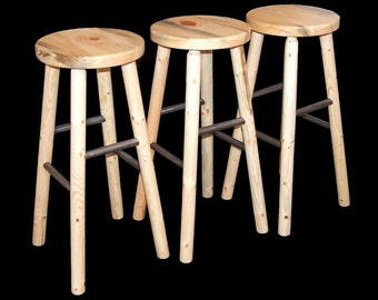 Log furniture Rustic log bar stool snow creek set of 3